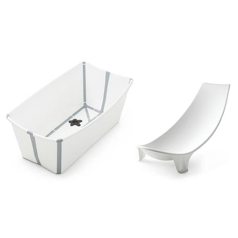 stokke flexibath bundle with newborn support foldable convenient baby bath tub  white