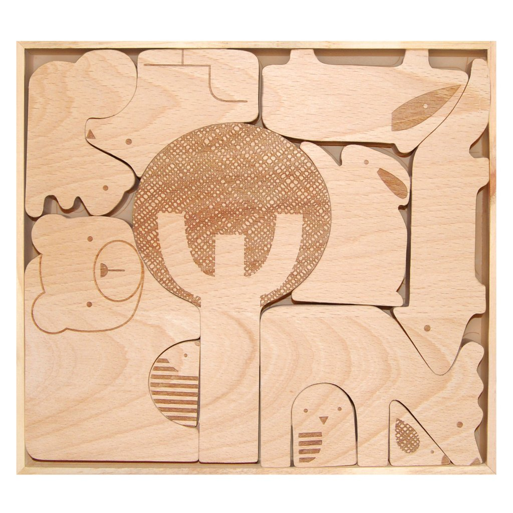 Wood Puzzle + Play Set