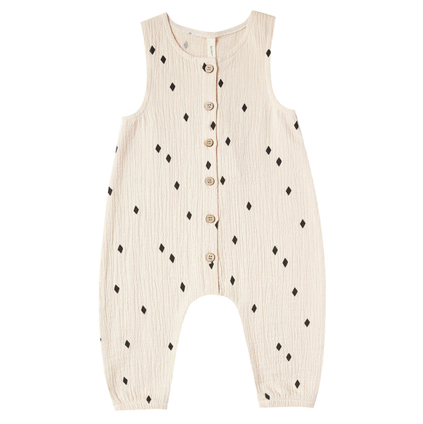 Quincy Mae Woven Jumpsuit Sleeveless Organic Cotton Baby One-Piece natural beige black diamond polka dot