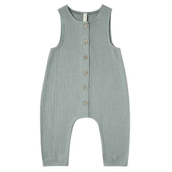 Quincy Mae Woven Jumpsuit Sleeveless Organic Cotton Baby One-Piece ocean blue green neutral