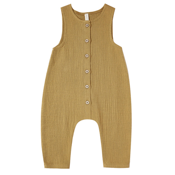 Quincy Mae Woven Jumpsuit Sleeveless Organic Cotton Baby One-Piece ocre dark yellow