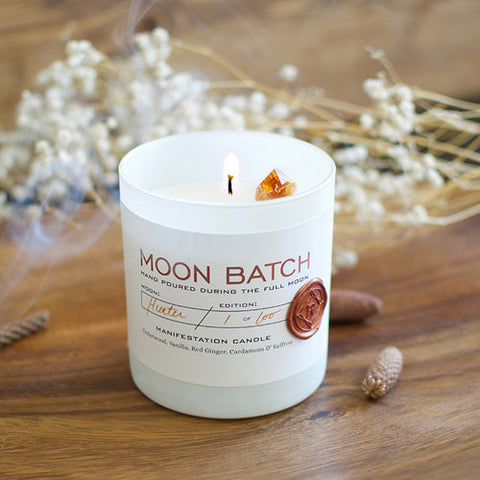 Bonfire Blend | February 19th  Super Snow Moon Batch Candle -Citrine Crystal-Success