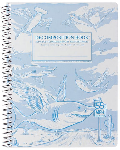Recycled Notebook | 100% Post Consumer Waste | Flying Sharks Decomposition Book