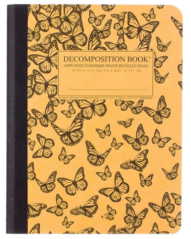 Recycled Notebook | 100% Post Consumer Waste | Monarch Migration Decomposition Book