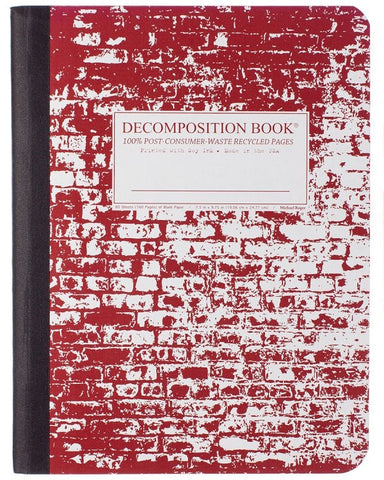 Recycled Notebook | 100% Post Consumer Waste | Brick in the Wall Decomposition Book