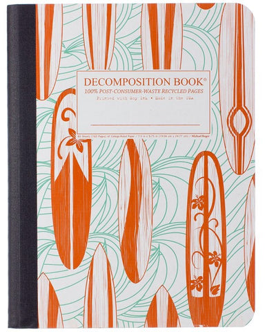Recycled Notebook | 100% Post Consumer Waste | Classic Surfboards Decomposition Book