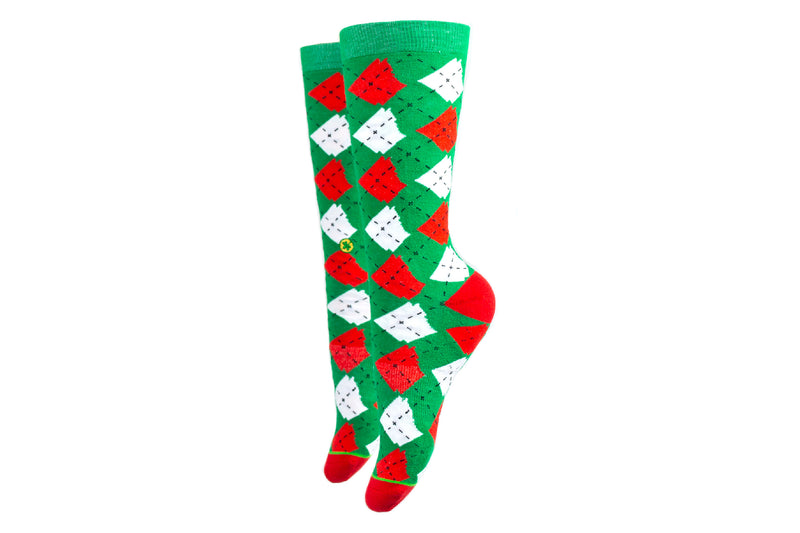 Arkansocks - Argyle State of Mind (Green/Red-White)