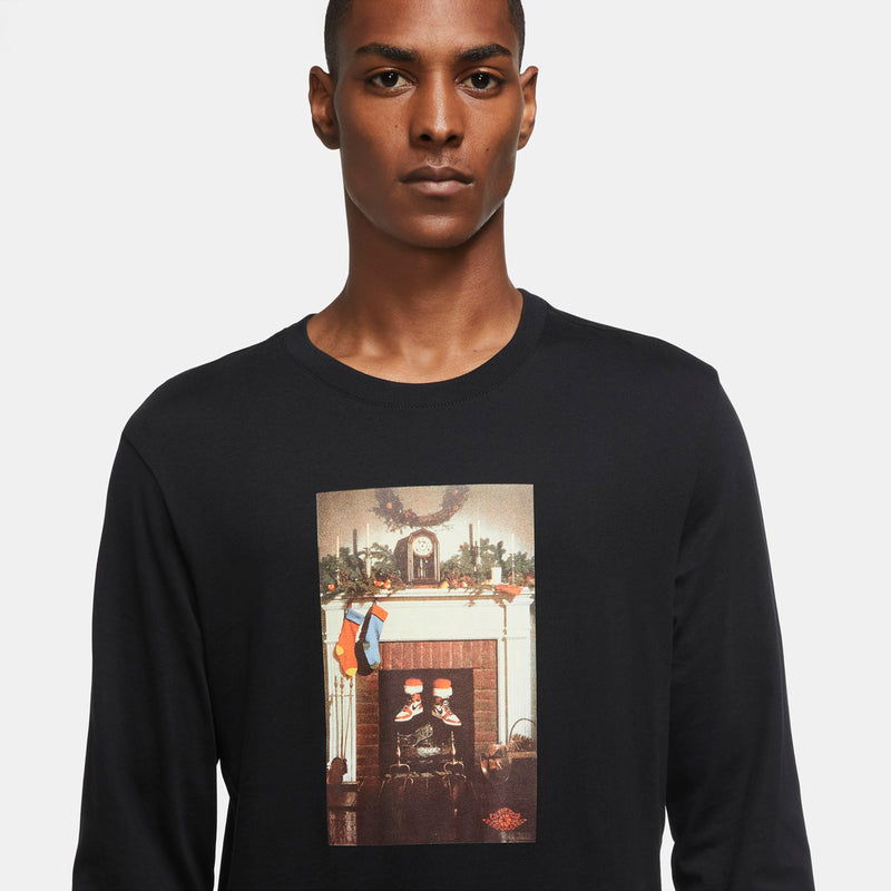 Jordan Chimney Long Sleeve T-Shirt (Black-University Red)