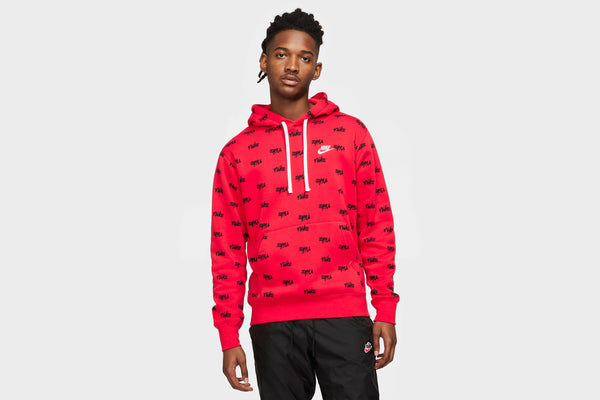 Nike Sportswear Allover Script Club Hoodie (Red/Black)