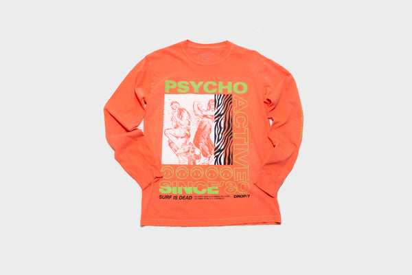 Surf Is Dead - Psycho Active L/S Tee (Bright Salmon)