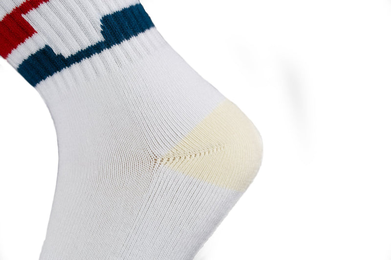 Arkansocks - The Tailgater Mid (White/Navy-Red)
