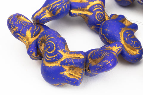 20mm x 23mm Gold Wash Matte Indigo Elephant Beads (1/2 Hank, Hank)