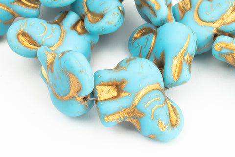 20mm x 23mm Gold Wash Matte Sky Blue Elephant Beads (1/2 Hank, Hank)