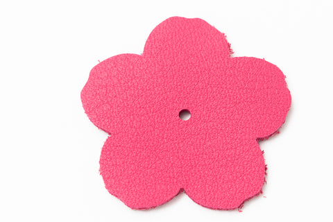 "1.25"" Pink Leather Flower"