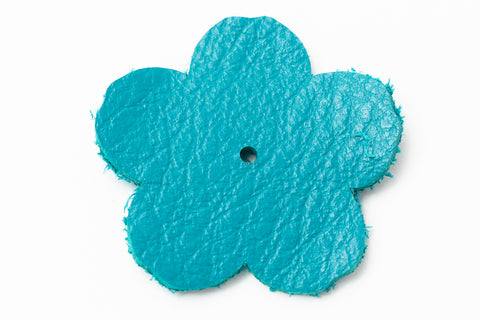 "1.25"" Teal Leather Flower"