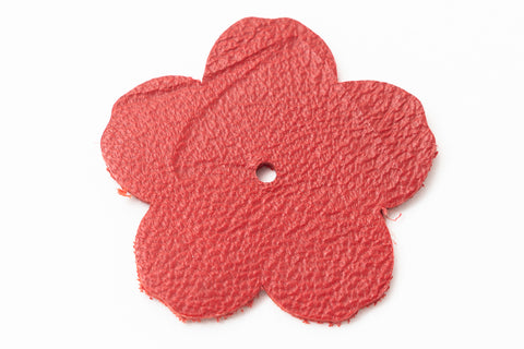 "1.25"" Red Leather Flower"