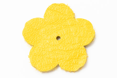 "1.25"" Yellow Leather Flower"