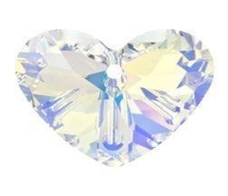 Swarovski 6260 Crystal AB Crazy 4 U Heart Pendant (27mm, 37mm)
