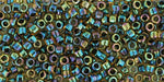 Inside-Color Rainbow Jonquil/Jet Lined Toho Treasure-General Bead