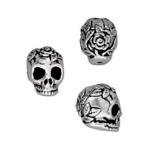 10mm x 7mm Antique Silver TierraCast Pewter Rose Skull Bead #CKA083-General Bead