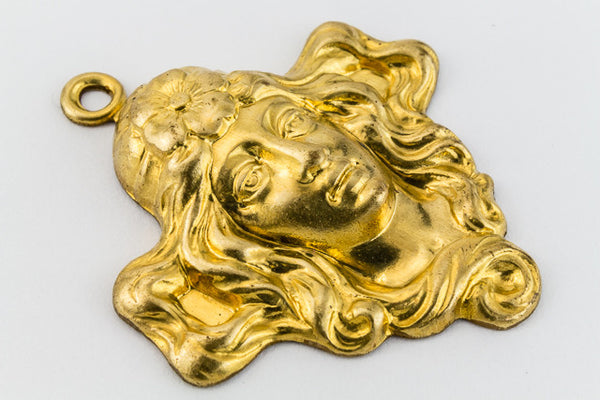 25mm Raw Brass Maiden with Flowing Hair Charm #146A