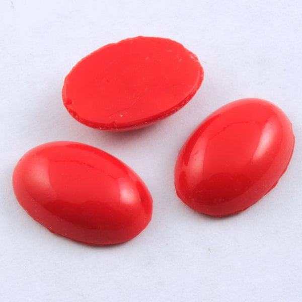 10mm x 15mm Opaque Cherry Red Oval Cabochon