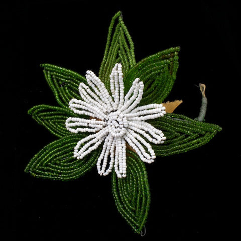 "4.5"" White Antique French Beaded Daisy-General Bead"