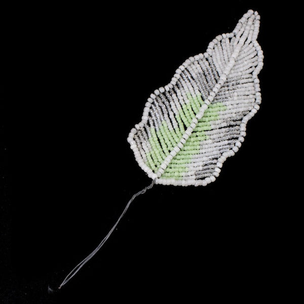 100mm White Opal/Green Antique French Beaded Leaf