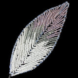 110mm White/Pink Antique French Beaded Leaf