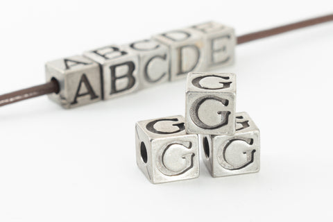 "6.55mm Pewter ""G"" Alphabet Bead #ABD407"