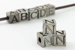 "6.55mm Pewter ""N"" Alphabet Bead #ABD414"