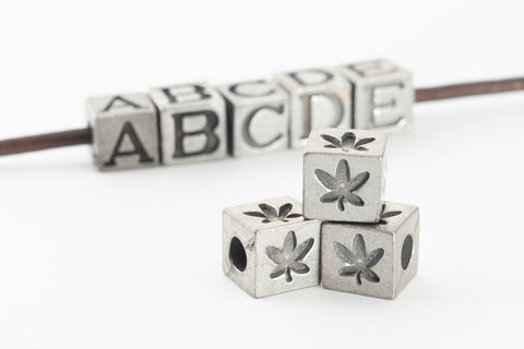 "6.55mm Pewter ""Maple Leaf"" Cube Bead #ABD438"