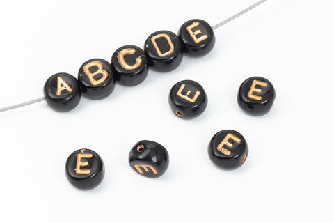 "6mm Black Glass ""E"" Alphabet Bead #ADB705"