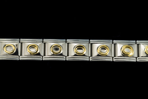 "10mm Silver and Gold ""O"" Expandable Letter Beads (18 Pcs) #ADD615"