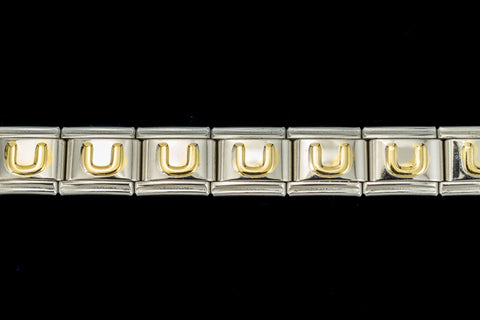 "10mm Silver and Gold ""U"" Expandable Letter Beads (18 Pcs) #ADD621"