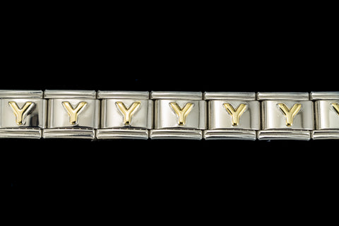"10mm Silver and Gold ""Y"" Expandable Letter Beads (18 Pcs) #ADD625"