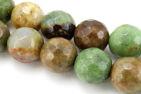 6mm African Green Brecciated Jasper Faceted Round Polished Bead (33 Pcs)