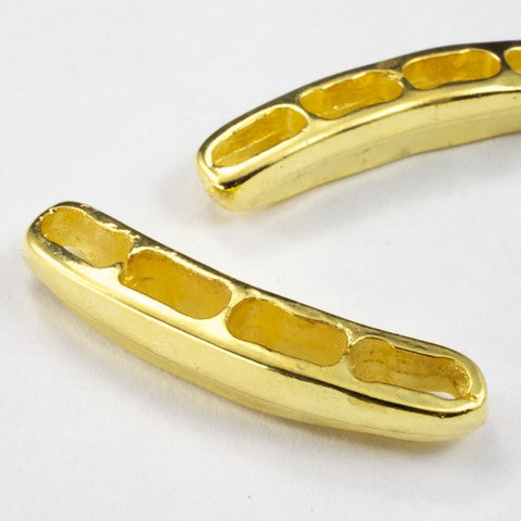 36mm Curved 4 Hole Gold Tone Spacer Bar-General Bead