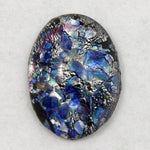 13mm x 18mm Blue/Silver Foil Oval Cabochon #AHK001-General Bead