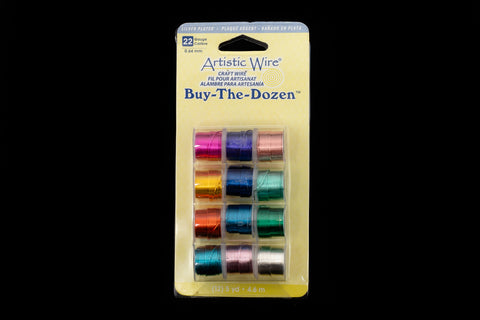 "Artistic Wire. ""Buy-The-Dozen"" Silver Plated 22 Gauge Round Wire Assorted Color Mix (1 Pack, 3 Pack)"