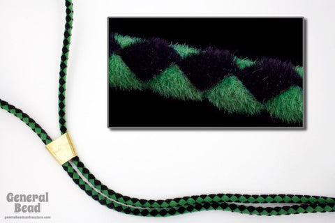 "36"" Black/Green Velour Bolo Cord-General Bead"