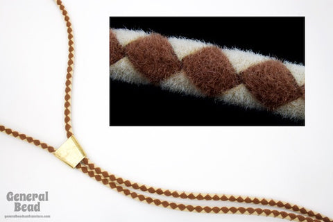 "36"" Brown/Sand Velour Bolo Cord-General Bead"