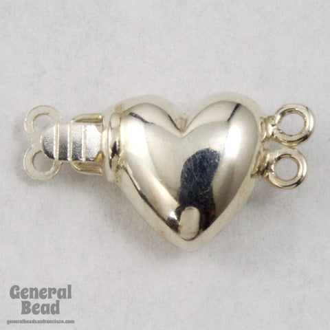9mm Sterling Silver Puff Heart Box Clasp with 2 Loops-General Bead