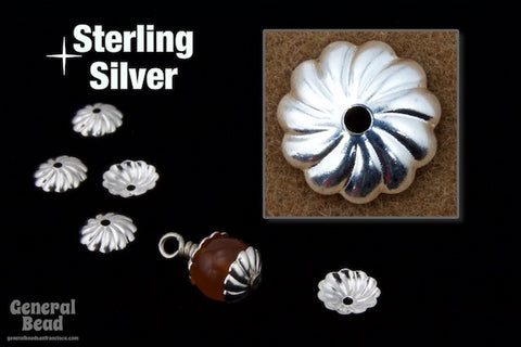 6mm Sterling Silver Fluted Bead Cap #BSD024-General Bead