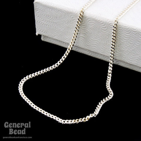 Sterling Silver 1mm Flat Curb Finished Bracelet Chain-General Bead