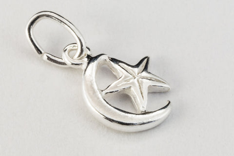 10mm Sterling Silver Moon and Star Charm #BSL043-General Bead
