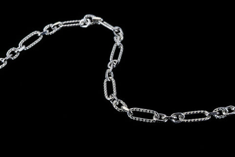 3.5mm x 1.5mm Sterling Silver Alternating Patterned Cable Chain #BSM089-General Bead