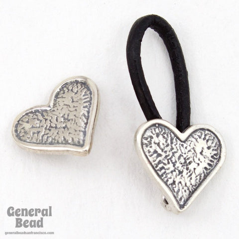 10mm Sterling Silver Heart Cord Lock Clasp Set-General Bead