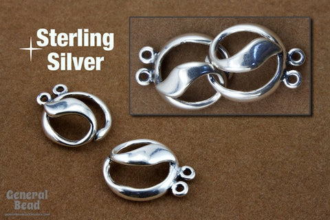 14mm Sterling Silver Two Strand Toggle Clasp #BSO055-General Bead