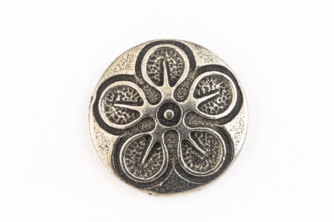 18mm Pewter Cherry Blossom Button #BUT053-General Bead